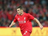 James Milner of Liverpool FC looks to pass the ball during the international friendly match between Adelaide United and Liverpool FC at Adelaide Oval on July 20, 2015