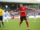 James Tavernier of Rangers celebrates after he scores Rangers' third goal during the Scottish Championships match between Greenock Morton FC and Rangers at Cappielow Park on September 27, 2015