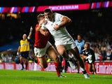 Jonny May scores the first try for England during the Rugby World Cup game with Wales on September 26, 2015