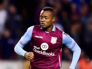 Jordan Ayew of Aston Villa looks on during the pre season friendly between Wolverhampton Wanderers and Aston Villa at Molineux on July 28, 2015