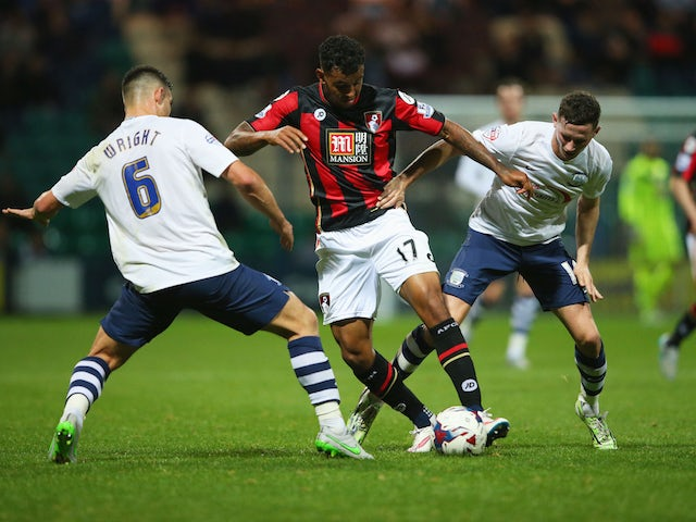 Joshua King of Bournemouth is closed down by Bailey Wright of Preston North End during the Capital One Cup third round match between Preston North End and AFC Bournemouth at Deepdale on September 22, 2015 in Preston, England.