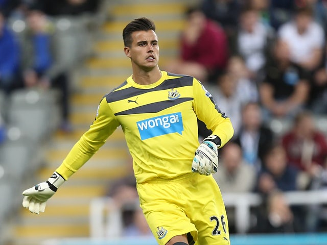 Karl Darlow of Newcastle United in action during the Capital One Cup Second Round between Newcastle United and Northampton Town at St James' Park on August 25, 2015