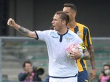 Lucas Biglia of SS Lazio celebrates after scoring his team's first goal from the penalty spot during the Serie A match between Hellas Verona FC and SS Lazio at Stadio Marc'Antonio Bentegodi on September 27, 2015