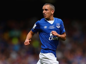 Leon Osman of Everton in action during the Duncan Ferguson Testimonial match between Everton and Villarreal at Goodison Park on August 2, 2015 in Liverpool, England.