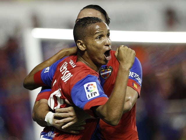 Levante's Brazilian forward Deyverson Brum Silva celebrates his goal during the Spanish league football match Levante UD vs SD Eibar at the Ciutat de Valencia stadium in Valencia on September 23, 2015