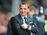 Brendan Rodgers, manager of Liverpool looks on prior to the Barclays Premier League match between Liverpool and Aston Villa at Anfield on September 26, 2015 in Liverpool, United Kingdom.