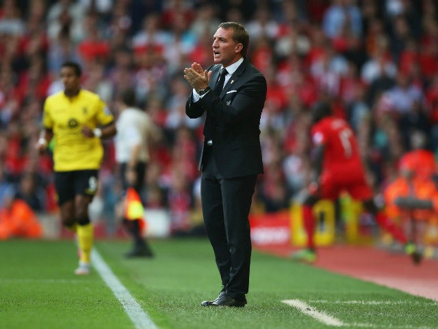 Brendan Rodgers, manager of Liverpool gestures during the Barclays Premier League match between Liverpool and Aston Villa at Anfield on September 26, 2015 in Liverpool, United Kingdom.