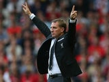 Brendan Rodgers, manager of Liverpool celebrates a goal during the Barclays Premier League match between Liverpool and Aston Villa at Anfield on September 26, 2015 in Liverpool, United Kingdom.