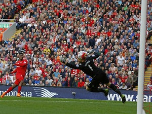 Liverpool's English striker Daniel Sturridge (2nd L) scores his team's second goal during the English Premier League football match between Liverpool and Aston Villa at the Anfield stadium in Liverpool, north-west England, on September 26, 2015.