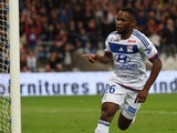 Lyon's French forward Aldo Kalulu reacts after scoring during the French L1 football match between Olympique Lyonnais against Sporting Club de Bastia on September 23, 2015