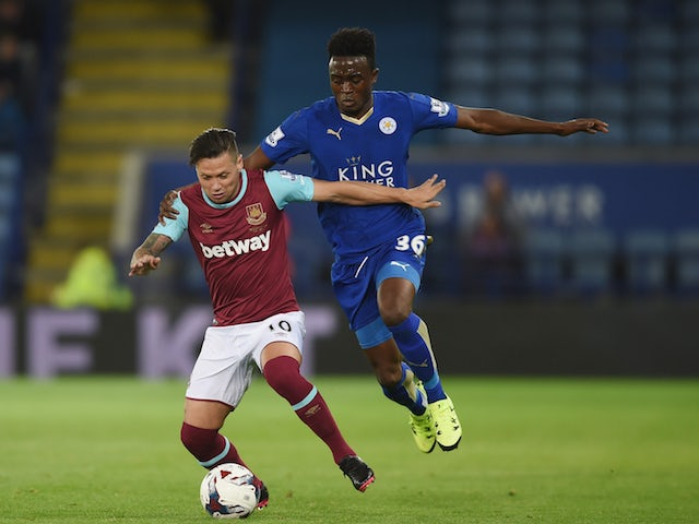 Mauro Zarate of West Ham in action with Joe Dodoo of Leicester during the Capital One Cup Third Round match between Leicester City and West Ham United at The King Power Stadium on September 22, 2015 in Leicester, England.