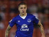 Muhamed Besic of Everton in action during the Capital One Cup Second Round match between Barnsley and Everton at Oakwell Stadium on August 26, 2015