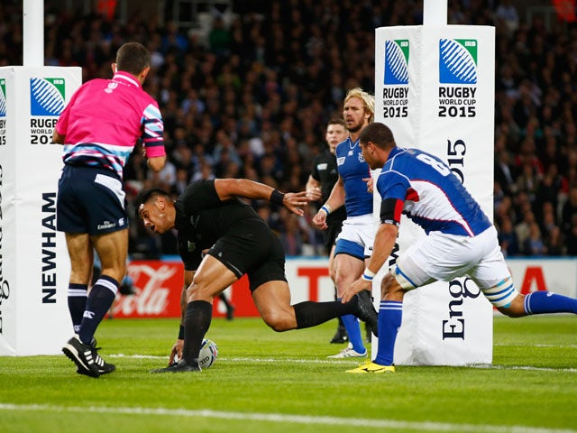 Malakai Fekitoa of the New Zealand All Blacks goes over to score his teams third try during the 2015 Rugby World Cup Pool C match between New Zealand and Namibia at the Olympic Stadium on September 24, 2015