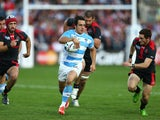 Nicolas Sanchez of Argentina makes a break during the 2015 Rugby World Cup Pool C match between Argentina and Georgia at Kingsholm Stadium on September 25, 2015