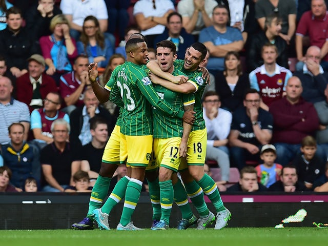 Robbie Brady (C) of Norwich City celebrates scoring his team's first goal with his team mates during the Barclays Premier League match between West Ham United and Norwich City at the Boleyn Ground on September 26, 2015