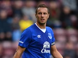 Phil Jagielka of Everton in action during a pre season friendly match between Heart of Midlothian and Everton FC at Tynecastle Stadium on July 26, 2015