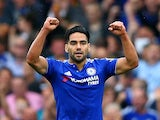 Radamel Falcao of Chelsea celebrates scoring his team's first goal during the Barclays Premier League match between Chelsea and Crystal Palace at Stamford Bridge on August 29, 2015
