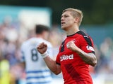 Martyn Waghorn of Rangers celebrates after he scores his second goal during the Scottish Championships match between Greenock Morton FC and Rangers at Cappielow Park on September 27, 2015