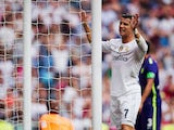 Cristiano Ronaldo of Real Madrid CF reacts as he fail to score during the La Liga match between Real Madrid CF and Malaga CF at Estadio Santiago Bernabeu on September 26, 2015 in Madrid, Spain.