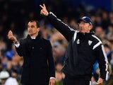 Everton manager Roberto Martinez and West Bromwich Albion boss Tony Pulis during a Premier League match on January 19, 2015