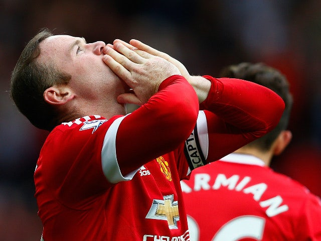 Wayne Rooney of Manchester United celebrates scoring his team's second goal during the Barclays Premier League match between Manchester United and Sunderland at Old Trafford on September 26, 2015 in Manchester, United Kingdom.