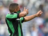 Gregoire Defrel of Sassuolo celebrates after scoring the opening goal during the Serie A match between US Sassuolo Calcio and AC Chievo Verona at Mapei Stadium - Città del Tricolore on September 27, 2015