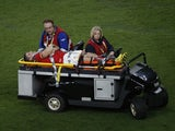 An injured Scott Williams of Wales is driven off the pitch during the Rugby World Cup game with England on September 26, 2015