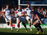 Seamus Kelly of the United States makes a break during the 2015 Rugby World Cup Pool B match between Scotland and USA at Elland Road on September 27, 2015