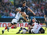 Sean Maitland of Scotland makes a break during the 2015 Rugby World Cup Pool B match between Scotland and USA at Elland Road on September 27, 2015