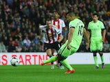 Sergio Aguero of Manchester City scores the opening goal from the penalty spot during the Capital One Cup third round match between Sunderland and Manchester City at Stadium of Light on September 22, 2015 in Sunderland, England.
