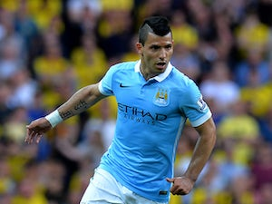Sergio Aguero of Manchester City during the Barclays Premier League match between Manchester City and Watford at the Etihad Stadium on August 29, 2015