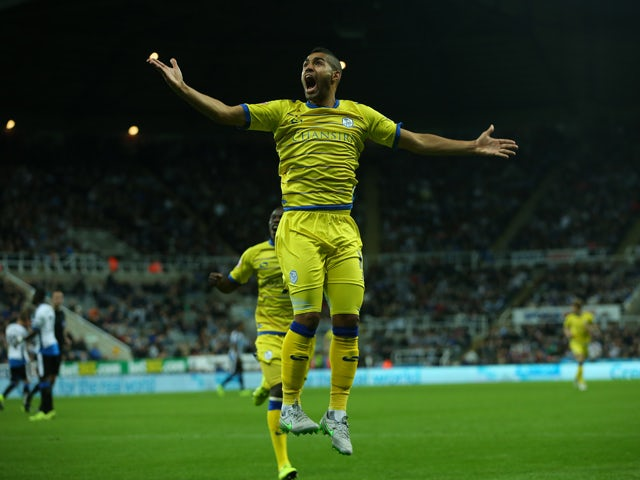 Lewis McGugan of Sheffield Wednesday celebrates scoring during the Capital One Cup Third Round match between Newcastle United and Sheffield Wednesday at St James Park on September 23, 2015