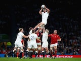 Tom Wood of England wins the lineout during the Rugby World Cup game with Wales on September 26, 2015