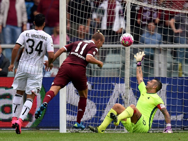 Maxi Lopez of Torino scores the opening goal during the Serie A match between Torino FC and US Citta di Palermo at Stadio Olimpico di Torino on September 27, 2015