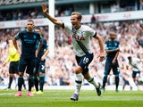 Harry Kane of Tottenham Hotspur celebrates scoring his team's third goal during the Barclays Premier League match between Tottenham Hotspur and Manchester City at White Hart Lane on September 26, 2015