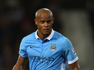 Vincent Kompany of Manchester City during the Barclays Premier League match between West Bromwich Albion and Manchester City at The Hawthorns on August 10, 2015