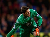 Wayne Hennessey, goalkeeper of Crystal Palace throws the ball out during the Capital One Cup second round match between Crystal Palace and Shrewsbury Town at Selhurst Park on August 25, 2015