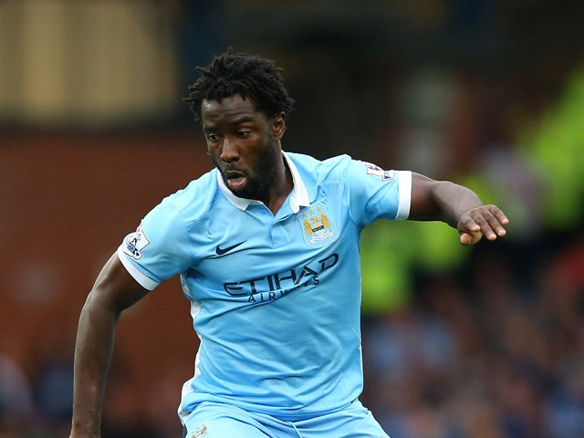 Wilfried Bony of Manchester City during the Barclays Premier League match between Everton and Manchester City at Goodison Park on August 23, 2015