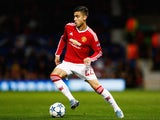 Andreas Pereira of Manchester United in action during the UEFA Champions League Group B match between Manchester United FC and VfL Wolfsburg at Old Trafford on September 30, 2015 in Manchester, United Kingdom.