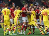 Tempers flare between both teams after a tackle by Jake Forster-Caskey of MK Dons on Bobby Reid of Bristol City during the Sky Bet Championship match between Bristol City and MK Dons at Ashton Gate on October 3, 2015