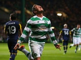 Kris Commons of Celtic celebrates after he scores during the UEFA Europa League match between Celtic FC and Fenerbahce SK at Celtic Park on October 01, 2015