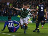 Leigh Griffiths of Celtic celebrates scoring during the UEFA Europa League match between Celtic FC and Fenerbahce SK at Celtic Park on October 01, 2015