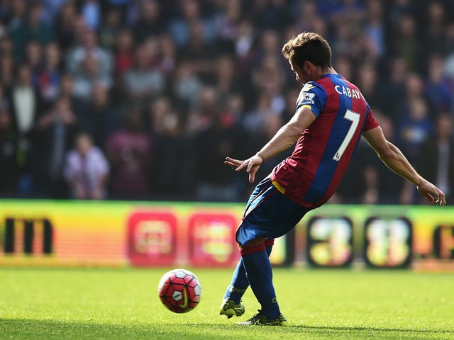 Yohan Cabaye of Crystal Palace scores his team's second goal from the penalty spot during the Barclays Premier League match between Crystal Palace and West Bromwich Albion at Selhurst Park on October 3, 2015