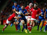 Damien Chouly of France attempts to break through during the 2015 Rugby World Cup Pool D match between France and Canada at Stadium mk on October 1, 2015