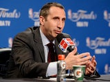 Head coach David Blatt of the Cleveland Cavaliers speaks to the media after their loss to the Golden State Warriors in Game Six of the 2015 NBA Finals at Quicken Loans Arena on June 16, 2015