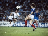 French football player Didier Six fights the ball on July 8, 1982 prior the World Cup semifinal match between West Germany and France, in the Estadio Ramón Sánchez Pizjuán stadium in Seville