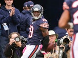 Eddie Royal #19 of the Chicago Bears celebrates after scoring against the Oakland Raiders in the first quarter at Soldier Field on October 4, 2015