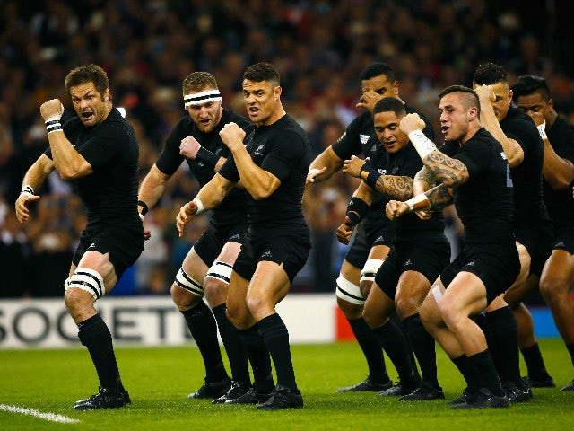 Richie McCaw and Dan Carter of the New Zealand All Blacks perform The Haka during the 2015 Rugby World Cup Pool C match between New Zealand and Georgia at the Millennium Stadium on October 2, 2015 in Cardiff, United Kingdom.