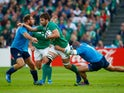 Iain Henderson of Ireland makes a break during the 2015 Rugby World Cup Pool D match between Ireland and Italy at the Olympic Stadium on October 4, 2015