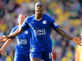 Jeff Schlupp of Leicester City celebrates scoring his team's second goal during the Barclays Premier League match between Norwich City and Leicester City at Carrow Road on October 3, 2015